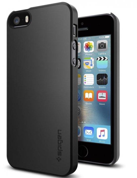 Spigen Thin Fit, black - iPhone SE/5s/5