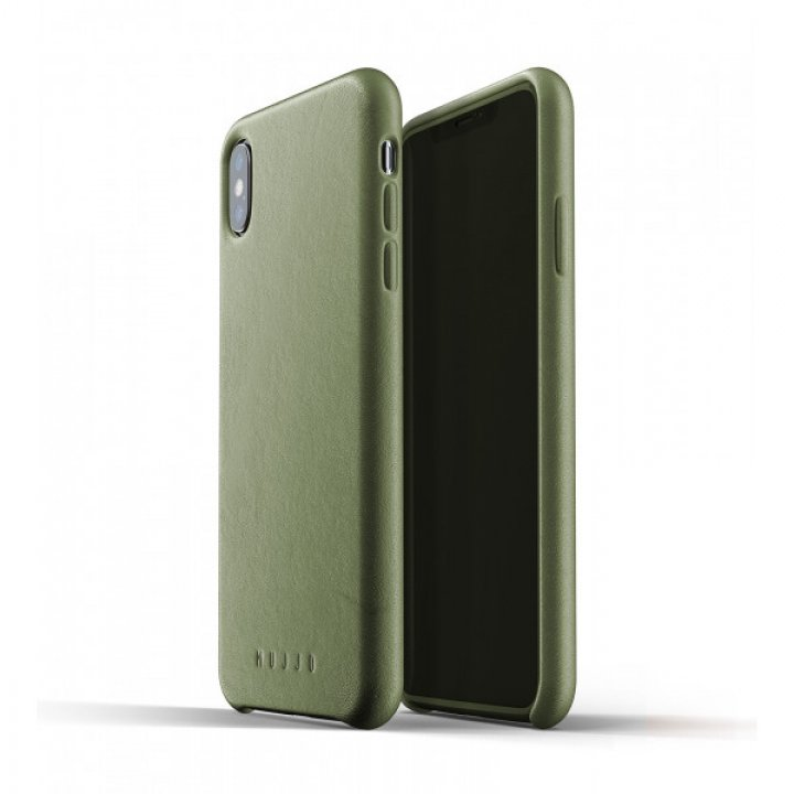 MUJJO Full Leather Case pro iPhone XS Max - olivový
