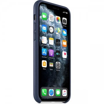 Pouzdro Apple kožené pro iPhone 11 Pro půlnočně modré