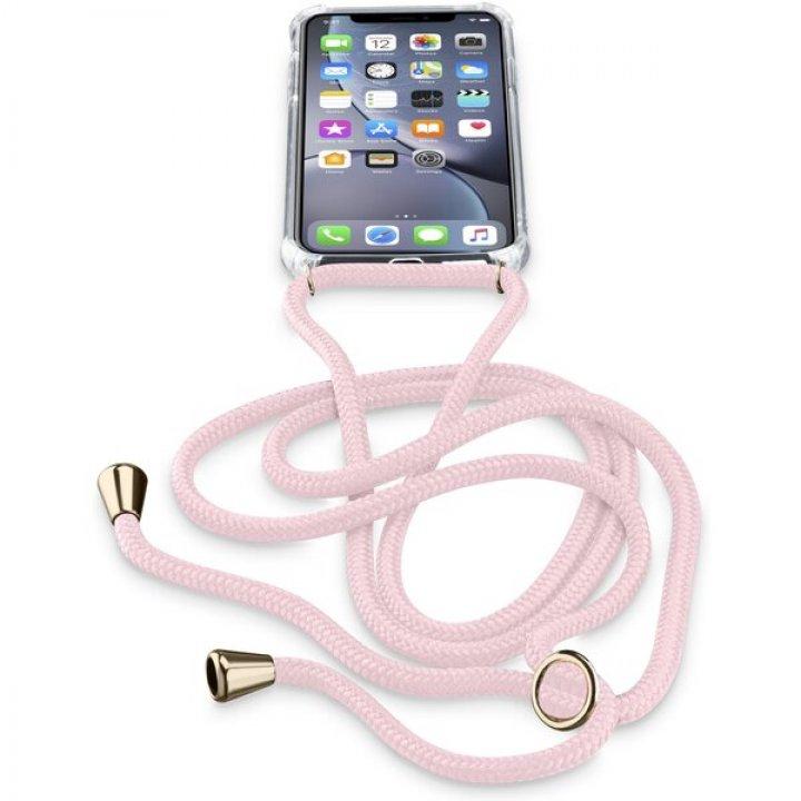 Cellularline Neck-Case - obal se šňůrkou na krk - iPhone XR růžový