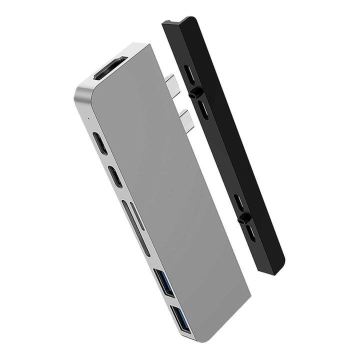 HyperDrive DUO 7 ve 2 USB-C Hub na MacBook Pro / Air - stříbrný