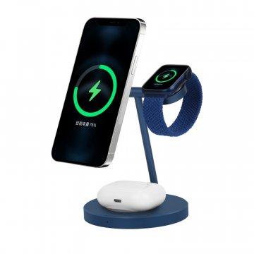 COTEetCI WS-31 MagSafe 3in1 nabíjecí stojánek pro AirPods /iPhone/ Apple Watch - modrý